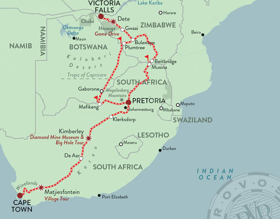 Map Rovos Rail Cape Town to Victoria Falls